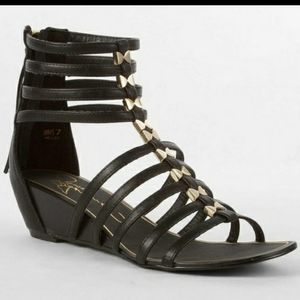 Report Signature Meliza Strappy Gladiator Wedge Sandals Black Gold Bows Size 8